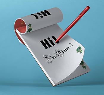 Notepad-Hi I'm Diana home page
